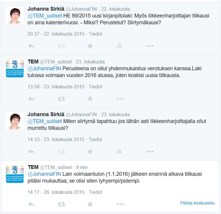 Twitter-viestittelyä 22.-26.10.2015